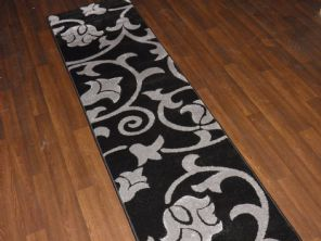 Modern Runner 60x220cm Aprox 8ft Hand Carved Super Quality Black/silver New